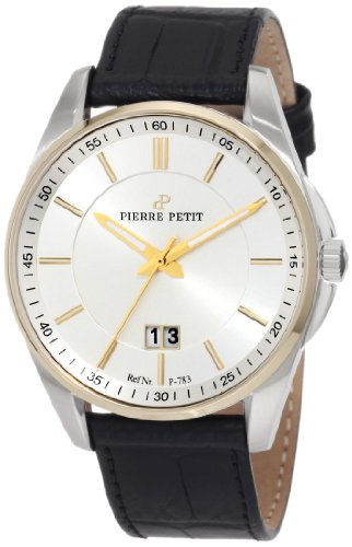 Pierre Petit P-783B - Reloj analógico de cuarzo para hombre con correa de piel, color negro