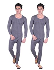 Unix Men's Grey Thermal Set Winter Wear (Top, Bottom) Pack Of 2 (UN3608-$P)