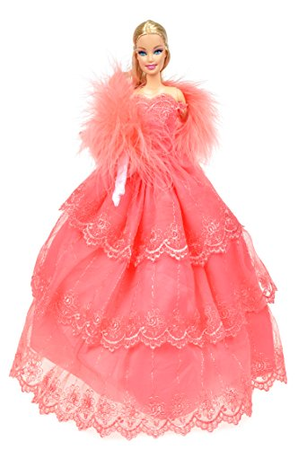 Banana Kong Elegance Pink Doll's Party Dress + Feather Shawl + Gloves - 1