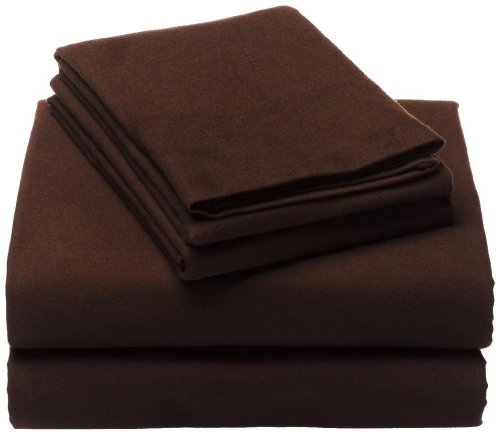 Clara Clark 100-Percent Egyptian Cotton Flannel 4-Piece Bed Sheet Set, King, Chocolate Brown front-957115