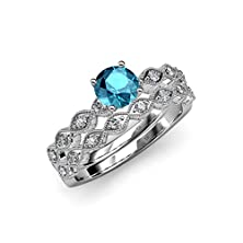 buy London Blue Topaz And Diamond Engagement Ring & Wedding Band Set 1.20 Ct Tw In 14K White Gold.Size 5.5