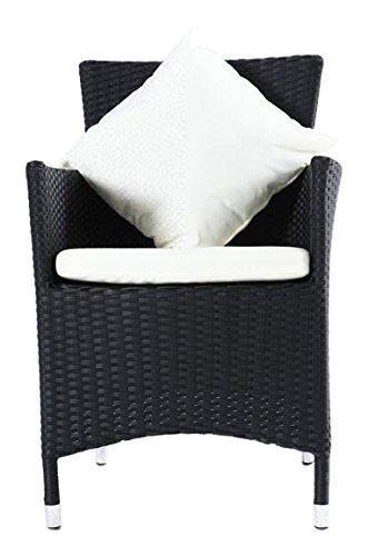Outflexx Möbel 2-er Set Polyrattan Dinner Stuhl w1 , schwarz