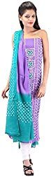 Shreya Bandhej Women's Cotton UnStitched Dress Material (SB17-PSg, Purple & SeaGreen )