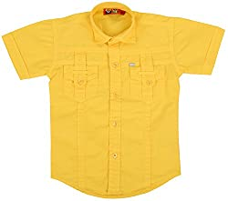 Titli Boys Cotton Shirt (8-9 years, Yellow)