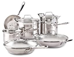 Emeril by All-Clad E884SC Chef\'s Stainless Steel Cookware Set, 12-Piece, Silver