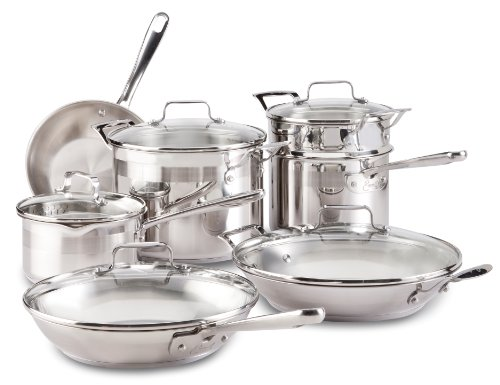 Emeril by All-Clad E884SC Chef's Stainless Steel Cookware Set, 12-Piece, Silver (Emeril All Clad Pan compare prices)