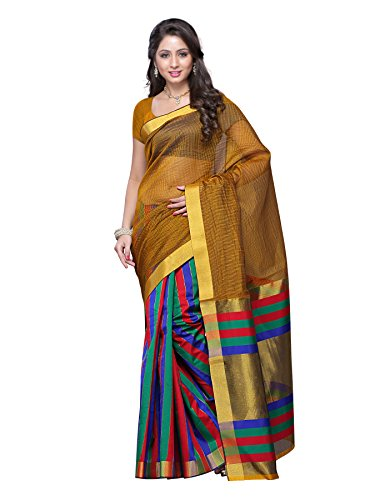 Mimosa Women Kanchipuram Art Silk Saree with Blouse (3103-Prs12-Gold, Gold)