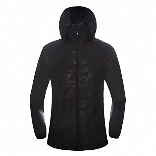 Maoko Sports Outdoor Running Windbreaker Jacket with Hood- Lightweight Sun UV Protection Black (Dryjoy Rain Wear compare prices)