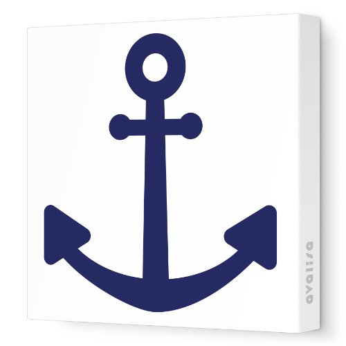 "Avalisa Stretched Canvas Nursery Wall Art, Anchor, Navy, 12"" x 12"""