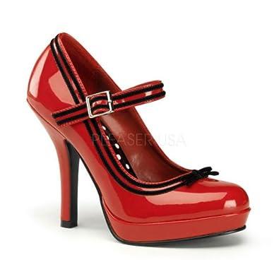 4 1/2 inch Heel, 1/2 inch Platform Mary Jane Pump W/ Velvet Trim Red Patent