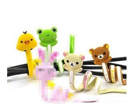 Top-Ishop Cute Cable Tie 4-Psc[ Frog,, Poult, 2 Bears ,] Cord Organizer Earphone Wrap Winder/ Fixer Holder/Cord Manager/Cable Winder