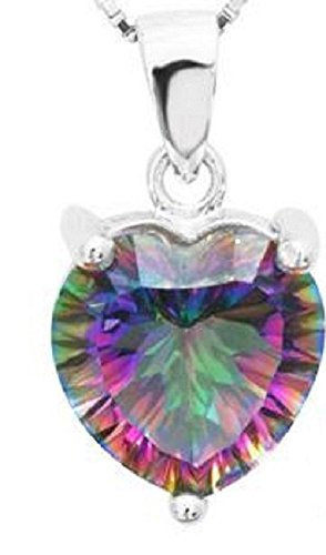 """Mystic Fire Topaz Pendant 3.8 Carat Heart Shaped with 18"""" Silver Plated Starry Rope Chain Necklace"""