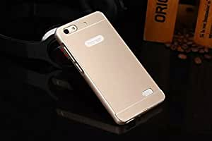 Gold Latest New Luxury Design High Quality Acrylic Back Metal Frame Bumper Case Cover For Huawei Honor 4C with Front Screen Guard by Case Trendz -- Gold