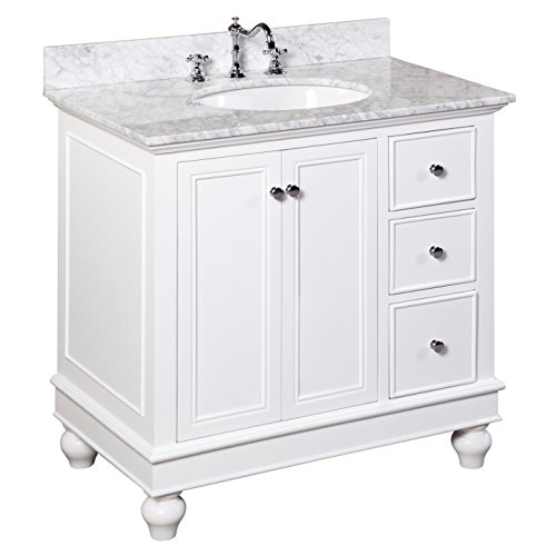 Kitchen Bath Collection KBC2236WTCARR Bella Bathroom Vanity with Marble Countertop, Cabinet with Soft Close Function and Undermount Ceramic Sink, Carrara/White, 36