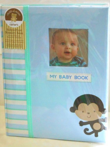 Carter'S Child Of Mine Record Baby'S First 5 Years Memory Baby Book Boy Blue With Monkey Newborn, Kid, Child, Childern, Infant, Baby