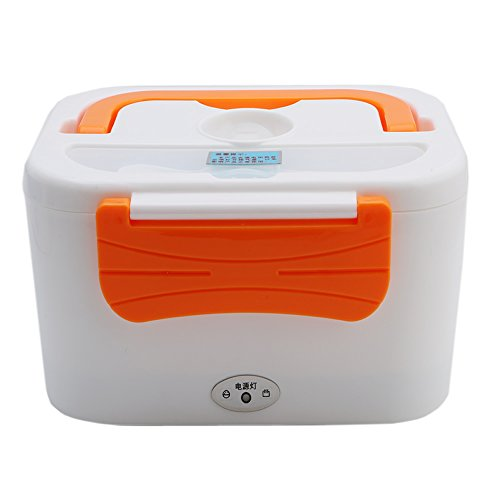 MEXUD-Portable Electric Heated Car Plug Heating Lunch Box Bento Box Food Warmer (Rated voltage:110V, Orange) (Electron Stove compare prices)