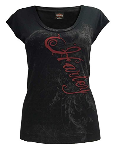 Harley-Davidson Women's Full Shoulder Tank Top, Dark Harley Scrolls, Black (M)