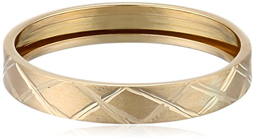 14k Yellow Gold Italian Cross-Hatch Ring, Size 7 (Gold Italian Ring compare prices)