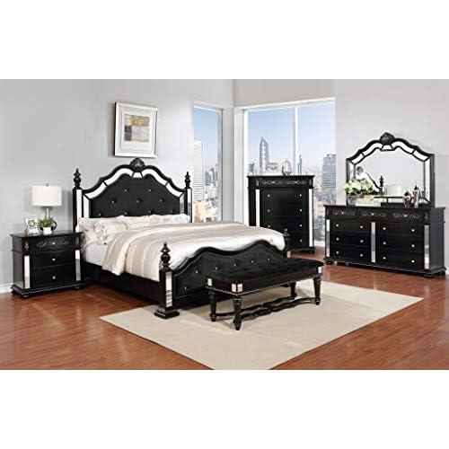 GTU Furniture Upholstered Panel 6Pc Wooden King Bedroom Set(K/D/M/2N/C)