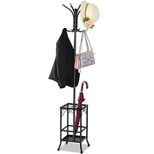 Yaheetech Retro-Style Metal Multi-purpose Coat Stand With Umbrella Storage Area, Black