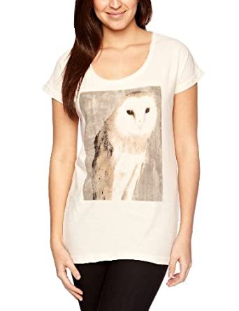 Numph Women's Owl Print T-Shirt, Birch, X-Small