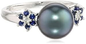 10k White Gold Black Tahitian Cultured Pearl with Diamond and Sapphire Accent Ring (0.05 Cttw, H-I Color, I2-I3 Clarity), Size 6