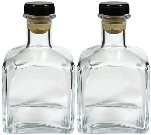 Square Glass Bottle with T-Top cork, 7 ounces, Set of 2