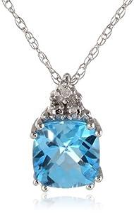 "10k White Gold, Blue Topaz, and Diamond Pendant Necklace, 18"""