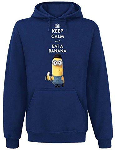 Minions Keep Calm And Eat A Banana Felpa con cappuccio blu L