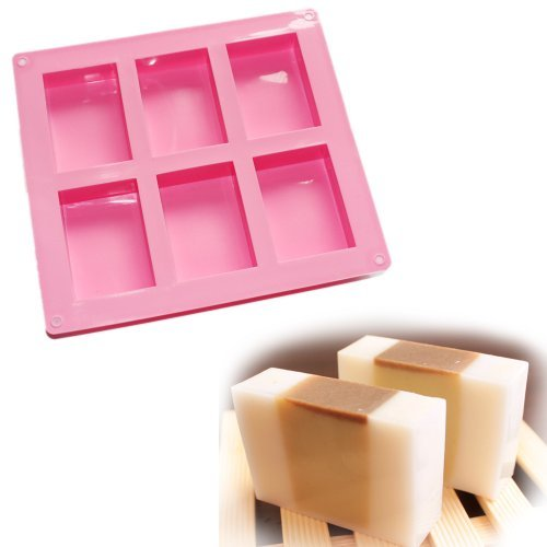 6-Cavity Plain Basic Rectangle Soap Mold Silicone Mould For Homemade Craft