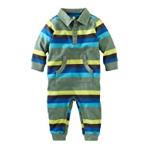 Tea Collection Baby-Boys Newborn Long Sleeve Polo Romper, Pine, 0-3 Months