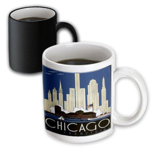 Florene - Vintage Travel Posters - Print Of Chicago Skyline Poster In Art Deco Style - 11Oz Magic Transforming Mug (Mug_182395_3)