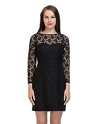 black allover lace dress