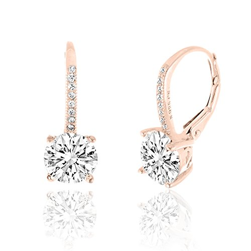 SPECIAL OFFER 18K Rose Gold Over Sterling Silver Round Cubic Zirconia Drop Leverback Earrings (Cameo Ear Plugs compare prices)