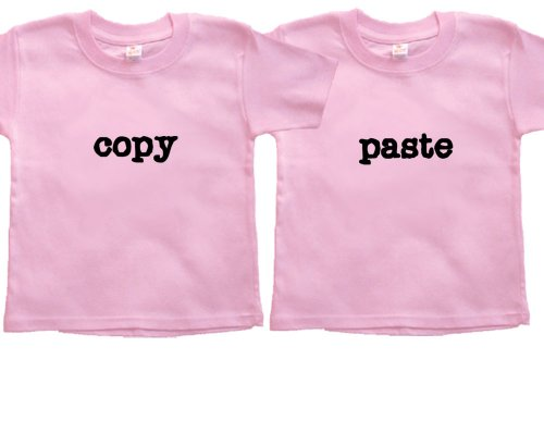 Twin Girls Gift Set (Includes 2 Pink T-Shirts - Copy Paste, size 2T)