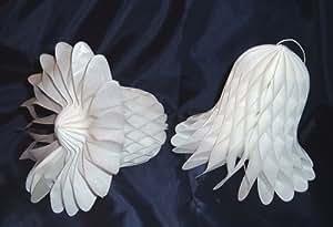 "Honeycomb Bells - Bridal/Wedding/Anniversary Decor - 11"" - White"