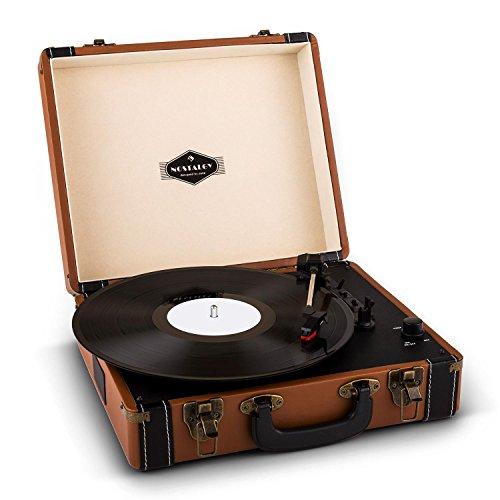 auna Jerry Lee Platine vinyle portable look retro avec port USB et 2 haut-parleurs (sortie RCA pour connexion enceinte, démarrage automatique) - marron