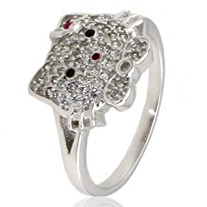 Tioneer Sterling Silver Cubic Zirconia Kitty Ring - Size 8