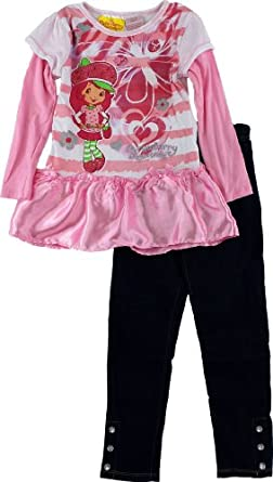 "Strawberry Shortcake ""Sweet Satin"" Pink Girls Tunic Top & Jeggings Set 4-6X (4)"