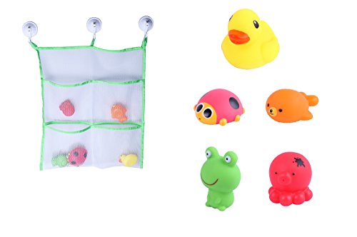 5-Piece-Bath-Toy-Set-FREE-with-Extra-Strong-Bath-Toy-Organizer--Mildew-Resistant-Bath-Bag-with-3-Suction-Cups--High-Quality-Sea-Animals-Toy-Set-5-piece-toy-bath-bag