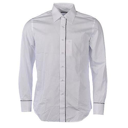 XACUS Camicia da uomo in cotone a maniche lunghe White & Black Piping 107 cm/ 42 cm