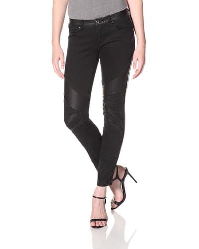 BLANKNYC Women's Skinny Jean with Vegan Leather Trim  - Smash