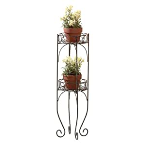 Gifts & Decor Scrolled Metal 2-Tier Planter Plant Stand Shelf Unit