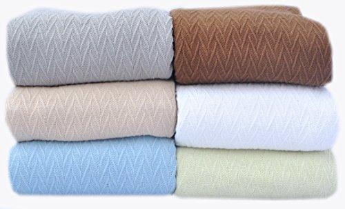 Fresca Blue All Season Throw Blanket Chevron Design Full Queen Size 90