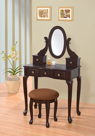Espresso Finish Wood 3 Pc Bedroom Vanity Set With Mirror And Stool And Multiple Drawers front-309534