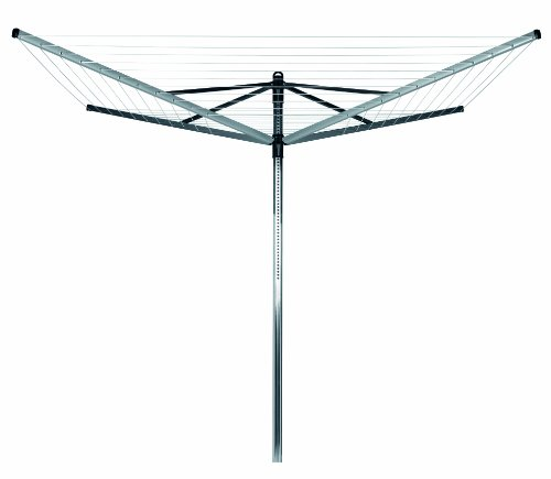 Brabantia Lift-O-Matic Rotary Dryer with 45mm Metal Soil Spear, 60m, 4 arms, Metallic Grey