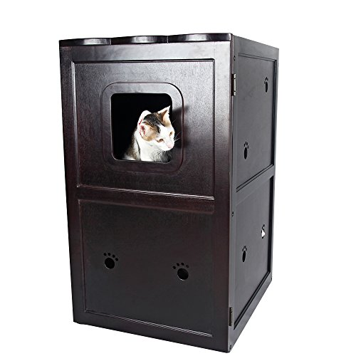Petsfit 21x25x35 Inches Espresso Double-Decker Pet House Litter Box Enclosure Night Stand Painted With Non-Toxic