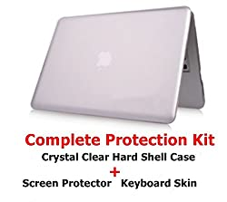 MobiDoc MacBook Air 13 inch Protection Kit (Crystal Clear Hard Shell Case + Silver KeyBoard Skin +Screen protector )