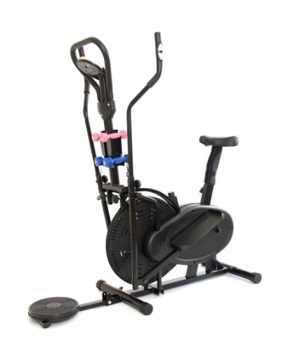 GYMMASTER 3 IN 1 ELLIPTICAL EXERCISE BIKE & CROSS TRAINER & AB TWISTER in BLACK + DUMBBELLS Upgraded 2013 Model: CR-8.2GAH - 1 year warranty