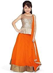 new arrival designer orange net partywear kids lehenga choli (28 inches)